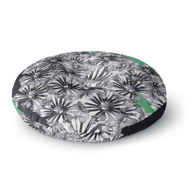 Sonal Nathwani Flowers on Green Round Floor Pillow Size: 26 x 26
