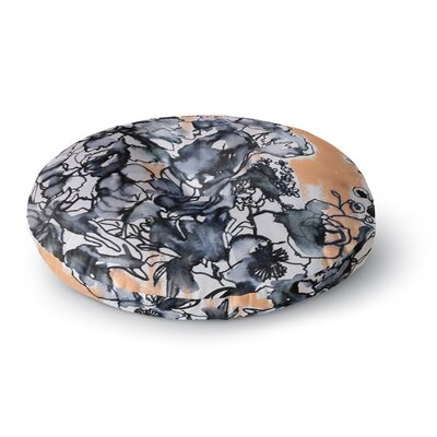Sonal Nathwani 'Inky Bouquet' Round Floor Pillow Size: 26