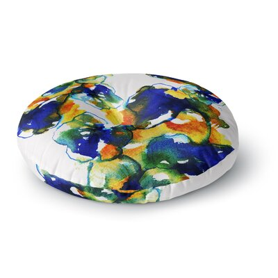 Sonal Nathwani Blue Orange Floral Abstract Watercolor Round Floor Pillow Size: 26 x 26