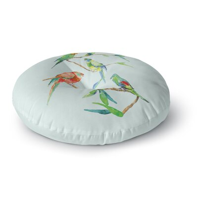 Sonal Nathwani Parrot Party Watercolor Round Floor Pillow Size: 26 x 26