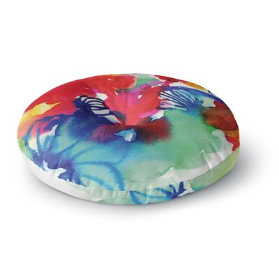 Sonal Nathwani Celebration Floral Painting Round Floor Pillow Size: 26 x 26