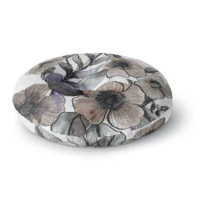 Sonal Nathwani Gray Bouquet Illustration Round Floor Pillow Size: 26 x 26