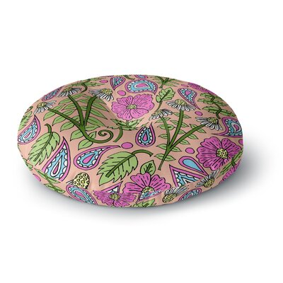 Sarah Oelerich Peach Floral Paisley Round Floor Pillow Size: 23 x 23
