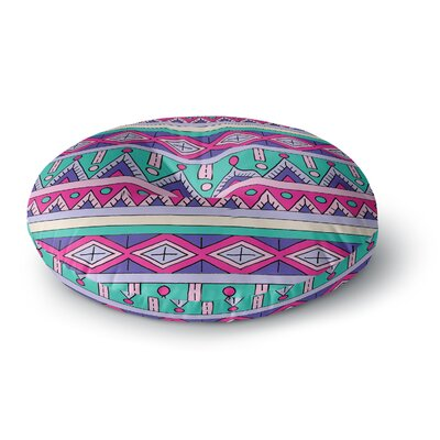 Sarah Oelerich Teal Tribal Round Floor Pillow Size: 26 x 26