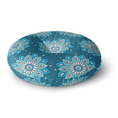 Sarah Oelerich Blue Flower Burst Round Floor Pillow Size: 26 x 26
