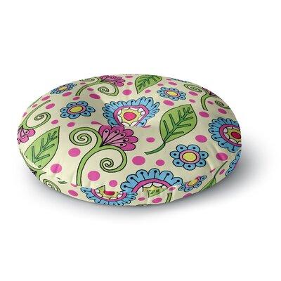 Sarah Oelerich Polka Dot Garden Floral Round Floor Pillow Size: 26 x 26