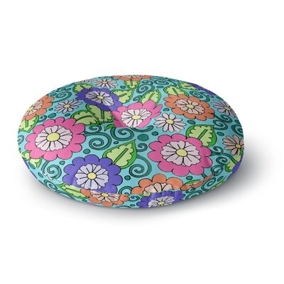Sarah Oelerich Summer Floral Flowers Round Floor Pillow Size: 23 x 23
