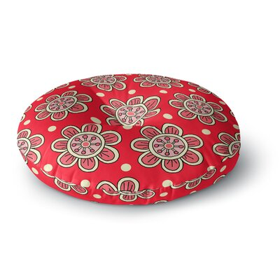 Sarah Oelerich Scarlet Flowers Floral Round Floor Pillow Size: 26 x 26