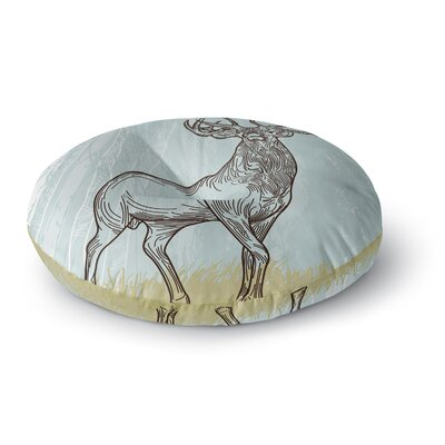 Sam Posnick Elk Scene Round Floor Pillow Size: 23 x 23