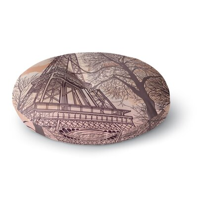 Sam Posnick Eiffel Tower Round Floor Pillow Size: 26 x 26