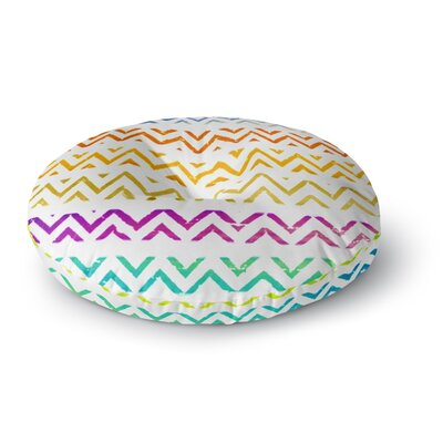 Sreetama Ray Chevron Add Warm Chevrons Round Floor Pillow Size: 26 x 26