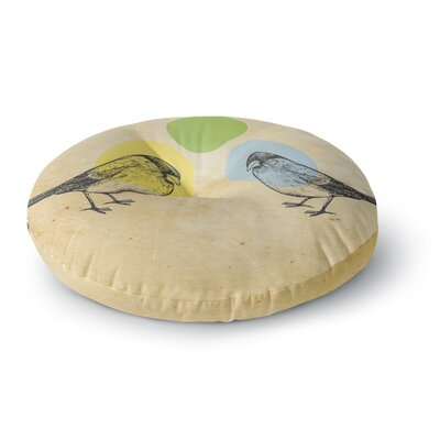 Sreetama Ray Green Paper Birds Round Floor Pillow Size: 26 x 26
