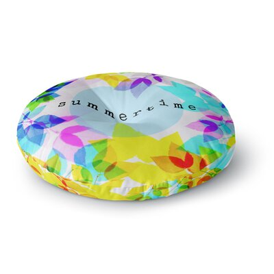 Sreetama Ray Seasons Summer Rainbow Leaves Round Floor Pillow Size: 23 x 23