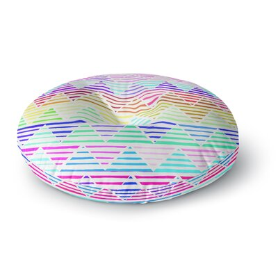 Sreetama Ray Stripes Cushion Rainbow Chevron Round Floor Pillow Size: 23 x 23