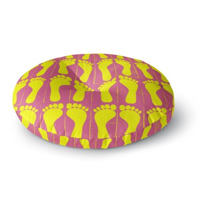 Sreetama Ray Footprints Yellow Illustration Round Floor Pillow Size: 26 x 26