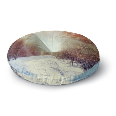 Snap Studio 'Winter Walkway' Snowy Round Floor Pillow Size: 26