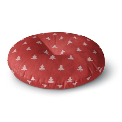 Snap Studio Pine Pattern Red Round Floor Pillow Size: 23 x 23