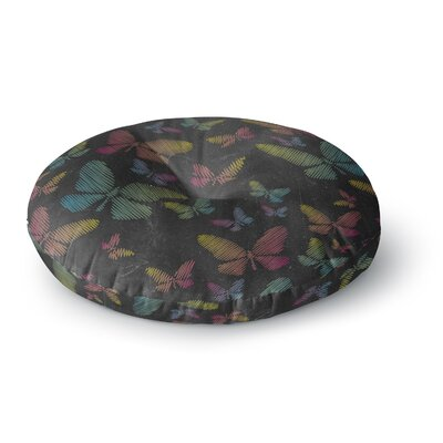 Snap Studio Butterflies II Chalk Round Floor Pillow Size: 26 x 26