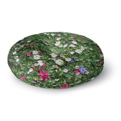 Susan Sanders Green Flower Vine Wall Nature Round Floor Pillow Size: 26 x 26