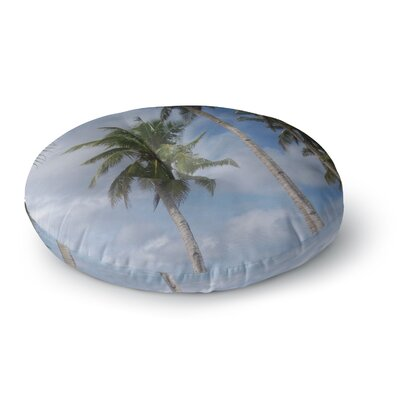 Susan Sanders Blue Sky Ocean Palm Trees Photography Round Floor Pillow Size: 23 x 23
