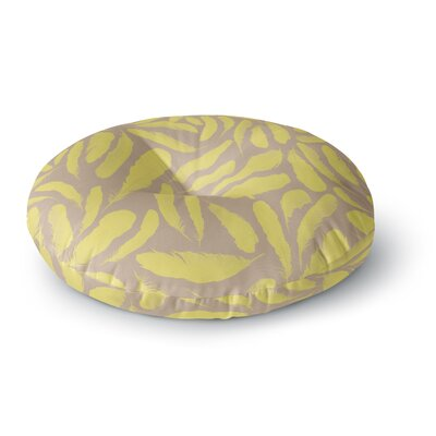Skye Zambrana Yellow Feather Round Floor Pillow Size: 26 x 26