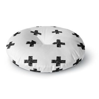 Skye Zambrana Swiss Cross White Simple Light Round Floor Pillow Size: 23 x 23