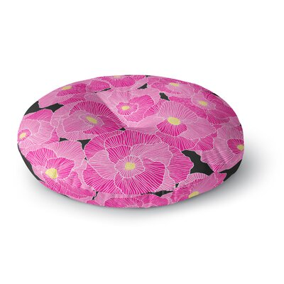 Skye Zambrana In Bloom Pink Floral Round Floor Pillow Size: 26 x 26
