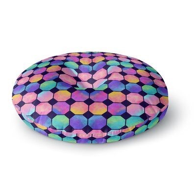 Noonday Design Colorful Watercolor Octagons Watercolor Abstract Round Floor Pillow Size: 26 x 26