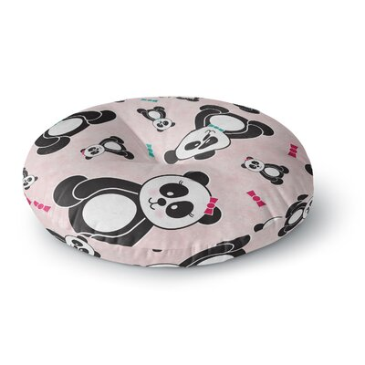 Noonday Design Panda Freefall in Pink Round Floor Pillow Size: 23 x 23