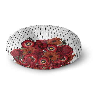 Tobe Fonseca Spring Pattern Dotted Lines Red Mixed Media Round Floor Pillow Size: 26 x 26