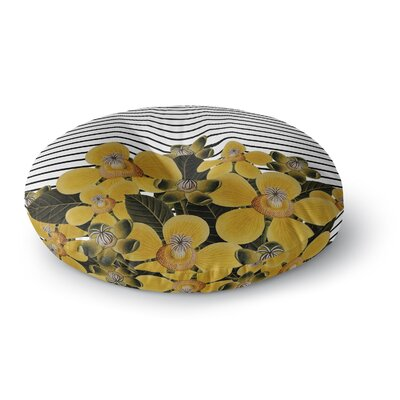 Tobe Fonseca Spring Pattern Lines Yellow Mixed Media Round Floor Pillow Size: 23 x 23