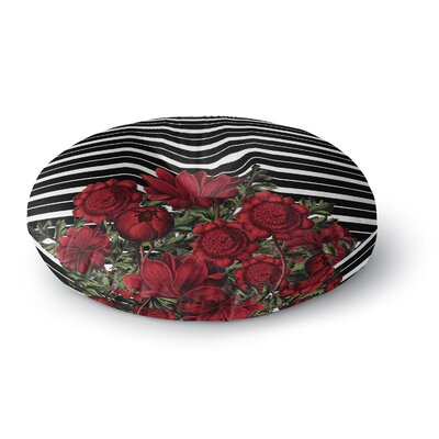 Tobe Fonseca Spring Pattern Lines Red Mixed Media Round Floor Pillow Size: 26 x 26