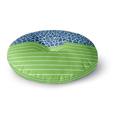 Trebam Staklo Dark Blue with Green Round Floor Pillow Size: 26 x 26