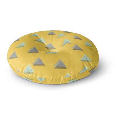 Strawberringo Triangles Geometric Round Floor Pillow Size: 26 x 26