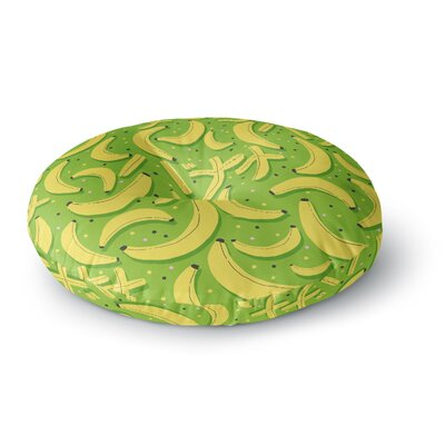 Strawberringo Banana Pattern Abstract Food Round Floor Pillow Size: 26 x 26