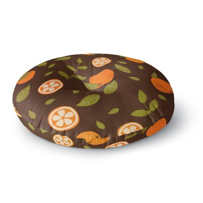 Strawberringo Orange Pattern Abstract Food Round Floor Pillow Size: 26 x 26