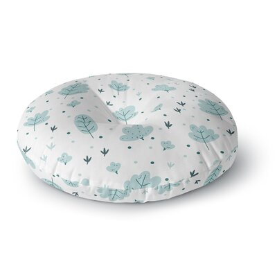 Strawberringo Leaves Pattern Nature Round Floor Pillow Size: 26 x 26