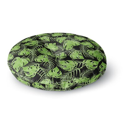 Strawberringo Green Leaves Round Floor Pillow Size: 26 x 26
