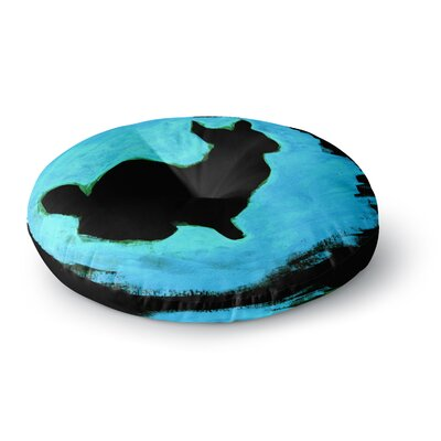 Theresa Giolzetti Blue Moon Bunny Paint Round Floor Pillow Size: 26 x 26
