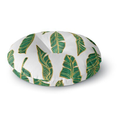 83 Oranges Banana Leaf Gold Digital Round Floor Pillow Size: 23 x 23