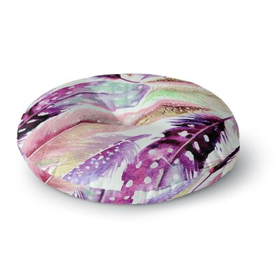 83 Oranges Feathers Painting Round Floor Pillow Size: 23 x 23