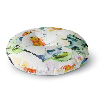 83 Oranges Watercolor Flowers Painting Round Floor Pillow Size: 23 x 23