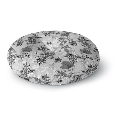 Victoria Krupp Engraving Flowers Floral Round Floor Pillow Size: 26 x 26