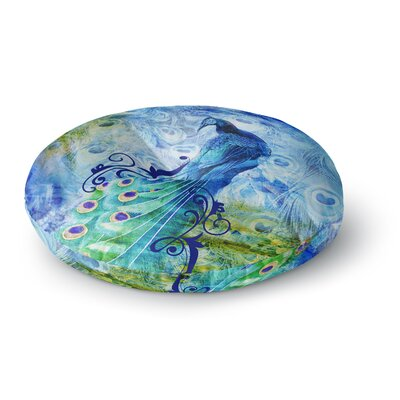 Victoria Krupp Blue Peacock Digital Round Floor Pillow Size: 26 x 26