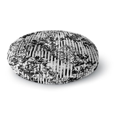 Victoria Krupp 'Stripes and Flowers' Digital Round Floor Pillow Size: 23