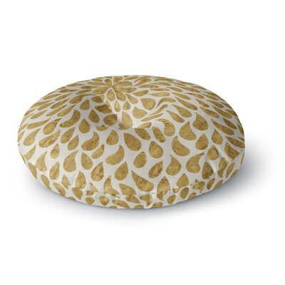 888 Design Abstract Golden Flower Round Floor Pillow Size: 26 x 26
