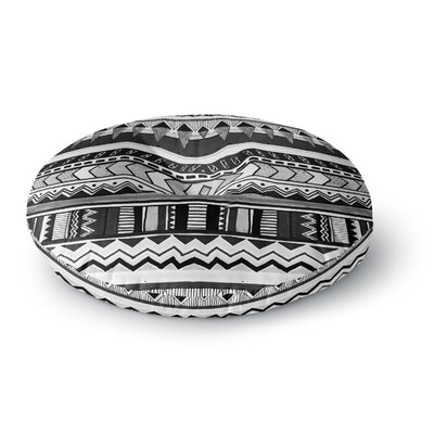 Vasare Nar 'Tribal Black and White' Geometric Round Floor Pillow Size: 26