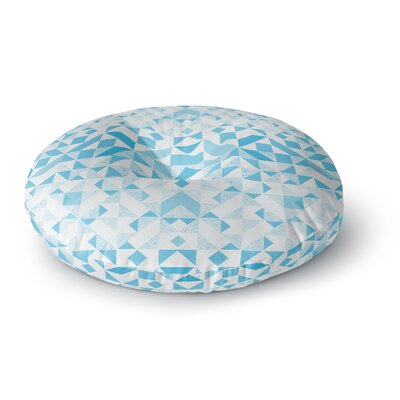 Vasare Nar Light Blue Geometric Digital Round Floor Pillow Size: 26 x 26
