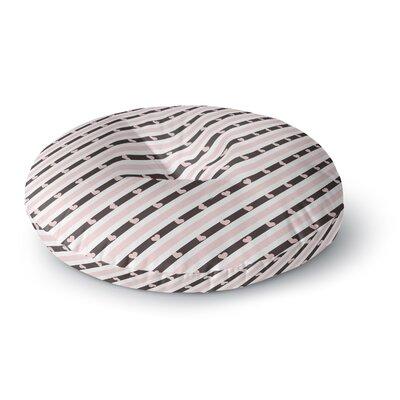 Vasare Nar Pastel Stripe Heart Love Round Floor Pillow Size: 26 x 26
