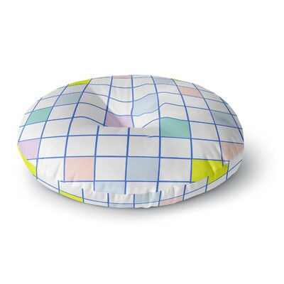 Vasare Nar Pastel Windowpane Grid Round Floor Pillow Size: 23 x 23
